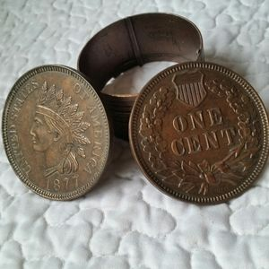 Vintage 1975 Metal One Cent Indian Head Coin Bank